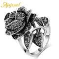 Ajojewel 2016 Jóias Vintage Antique Banhado A Prata Preto Cristal Rhinestone Big Rose Anéis Flor Para Mulheres Românticas