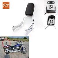 For 01 08 Honda Spirit 750 Motorcycle Skull Flame Rear Backrest Passenger Sissy Bar Leather Pad Chrome 2001 2002 2003 2008