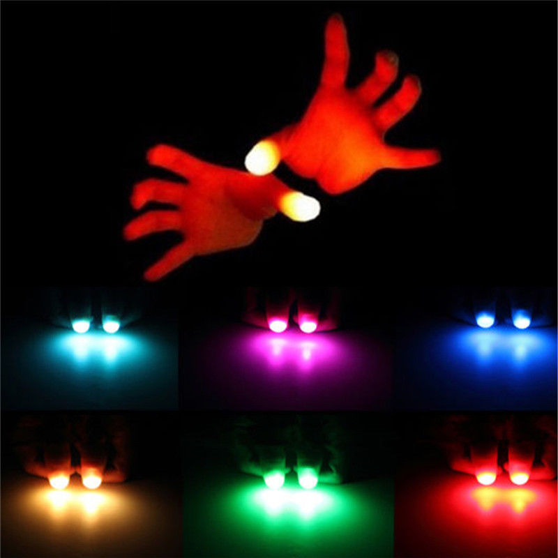 2PCS  Light-Up Thumbs LED Light Flashing Fingers Magic Trick Props Kids Amazing Glow Toys Children Luminous Gifts
