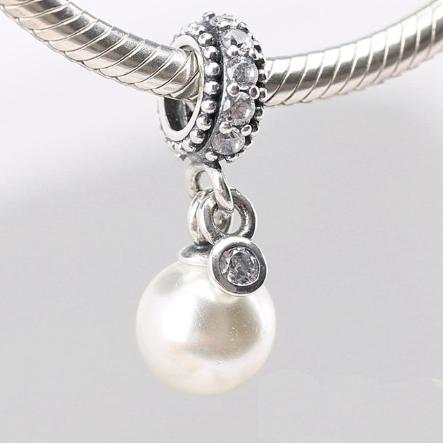 14b2e519d Fits Pandora Charms Bracelets 100% 925 Sterling Silver Luminous Elegance Beads  Charms with White Pearl