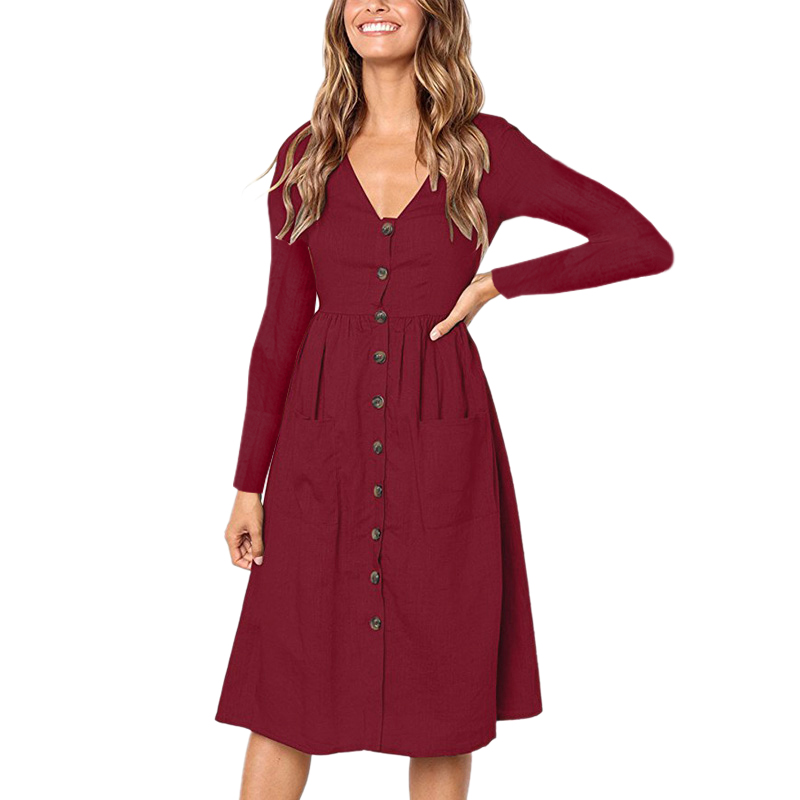 Women's Fashion Autumn Spring Elegant Dresses Long Sleeve V Neck Button Decorative Swing Midi Shirt Dress with Pockets 7 Colors