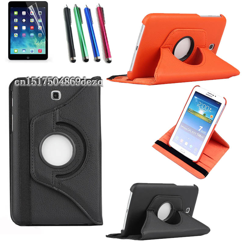 Stylus+protective film+ high quality 360 Rotating PU Leather Case For Samsung Galaxy Tab 3 7.0 T210 T211 T215 Cover Tab3 7inch
