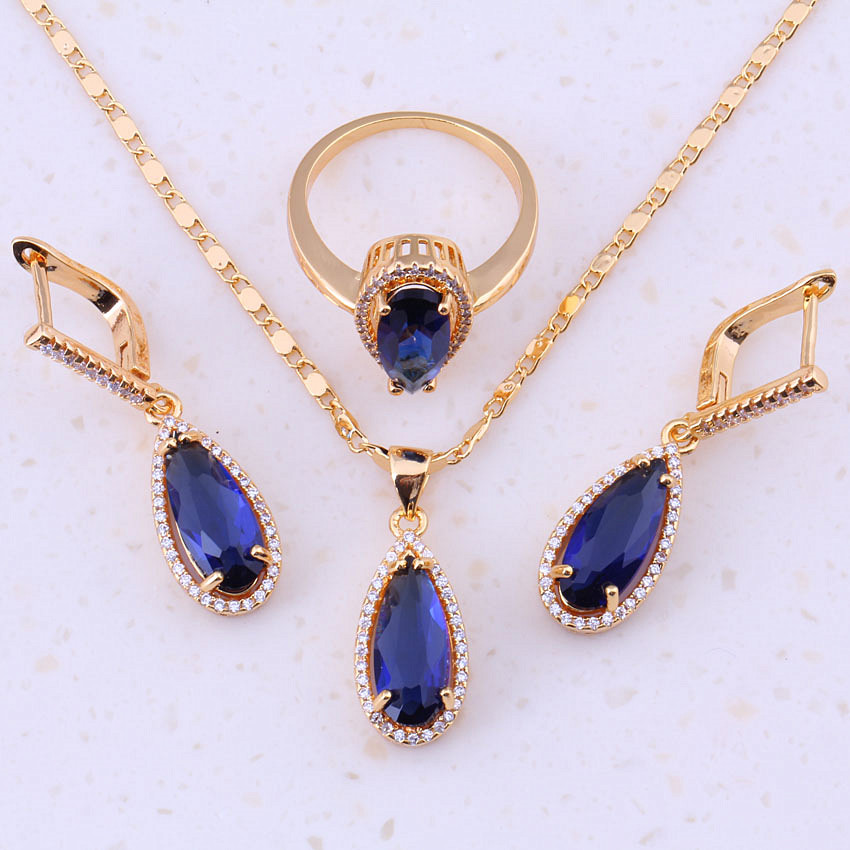 Cute Water Drop Blue Created Crystal Cubic Zircon Yellow Gold Color Jewelry Sets Women Wedding Party