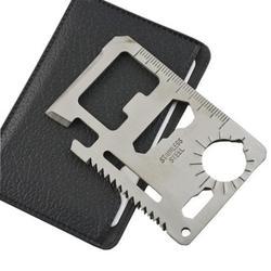 Suministros de defensa personal multiherramientas 11 en 1 multifunción supervivencia al aire libre Camping bolsillo militar tarjeta de crédito cuchillo plata