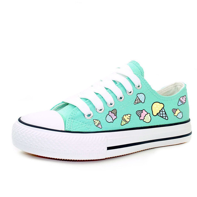Cute Ice Cream Print Women's Shoes 2016 Breathable Canvas Shoes Women Lace up Casual Shoe Girls