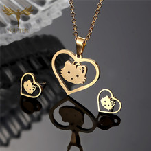Fgift Cute Children Girl Jewelry Set Hello Kitty Necklace Earrings Sets Gold Stainless Steel Jewellery Kids Girls Gift