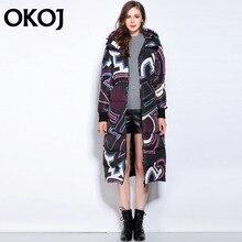 down coat 2016 winter Jacket Women Down Jackets new arrival Women's Outerwear medium-long thickening print hood duck down coats