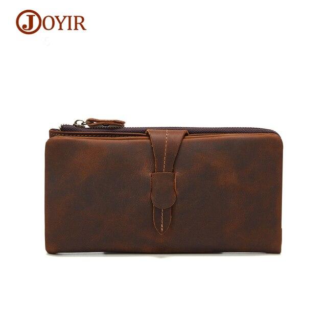 JOYIR Vintage Cowhide Wallet Genuine Leather Men Wallets Long Hasp Male Purse Fashion Clutch Wallet Card Holder Money Bag