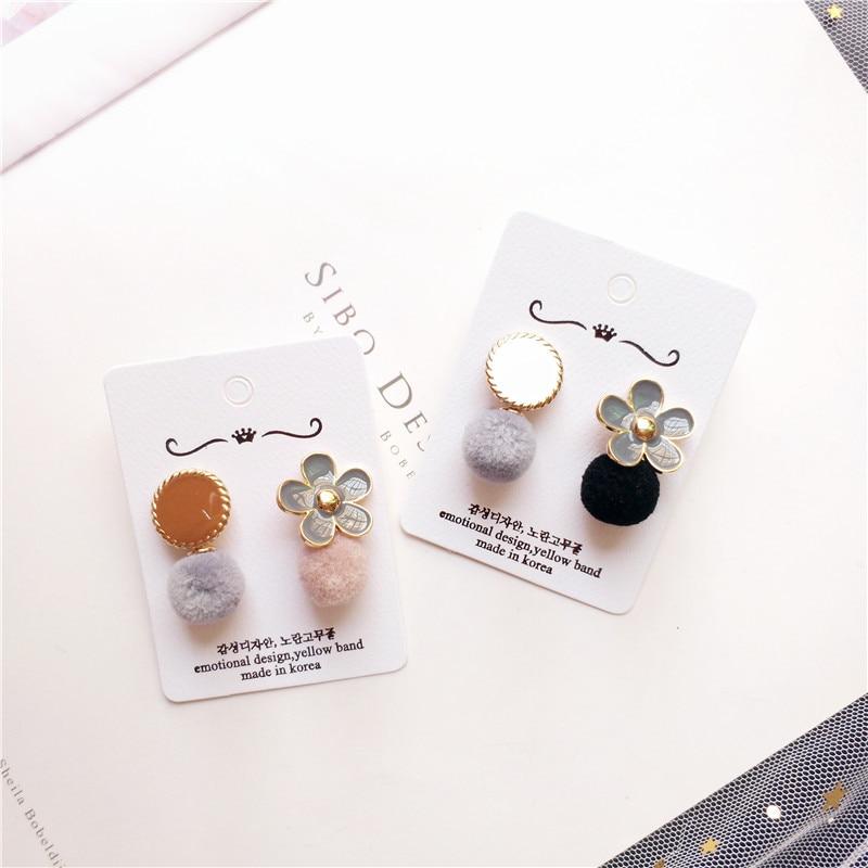 Korea Handmade Alloy flower Plush ball Women Drop Earrings Dangle Earrings Fall Winter Fashion Jewelry Accessories JQD5 in Drop Earrings from Jewelry Accessories
