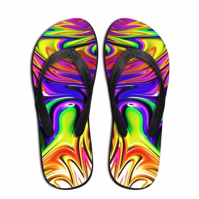 005b6fc7e Noisydesigns boys slippers Men flip flops sandals summer rainbow color  print outdoor slide shoes Men s beach footwear hot wear