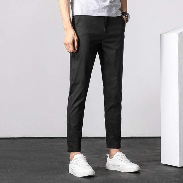 Men ANKLE Length Trousers 98.2% cotton 1.8% spandex Summer Thin Zipper Green Grey Black Slim Male Young Man Pencil Ninth Pants 4