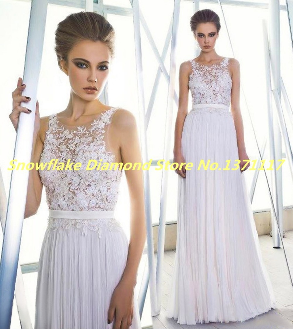 Romantic Easy Style 2015 Top Scoop With Handmade Appliques White ...