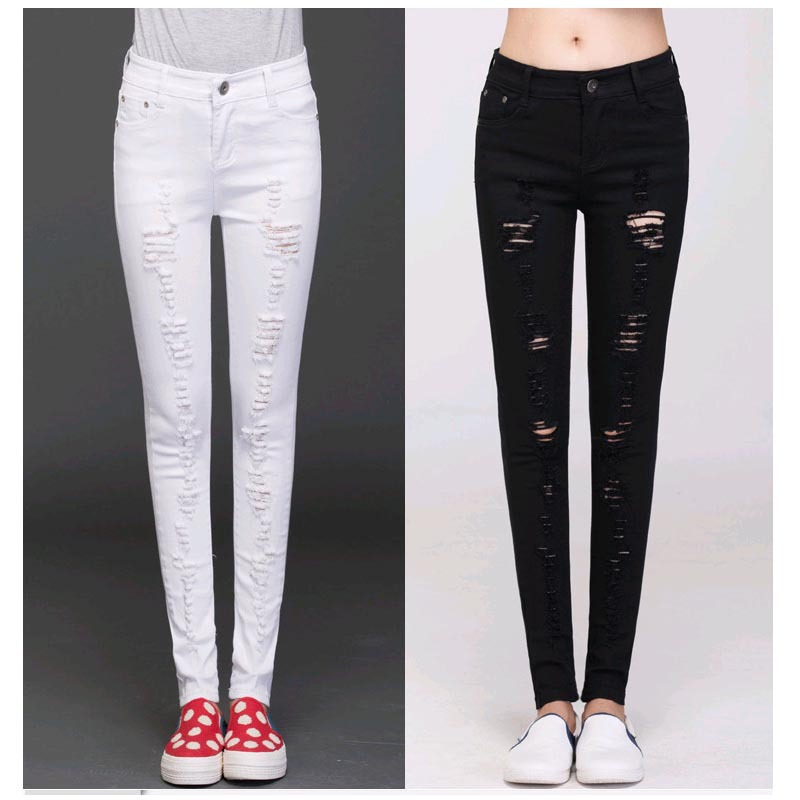 Ripped Jeans Girl Capris Women Sexy Skinny Jeans Female denim Capris Low Waist Girls Pencil Pants White Jean Hole Design lole капри lsw1349 lively capris xl blue corn