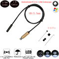 5.5mm Android Usb Endoscope Camera 2m IP67 Waterproof Endoscope Borescope Inspection Camera For PC Android 2 In 1 Smart Endoscop