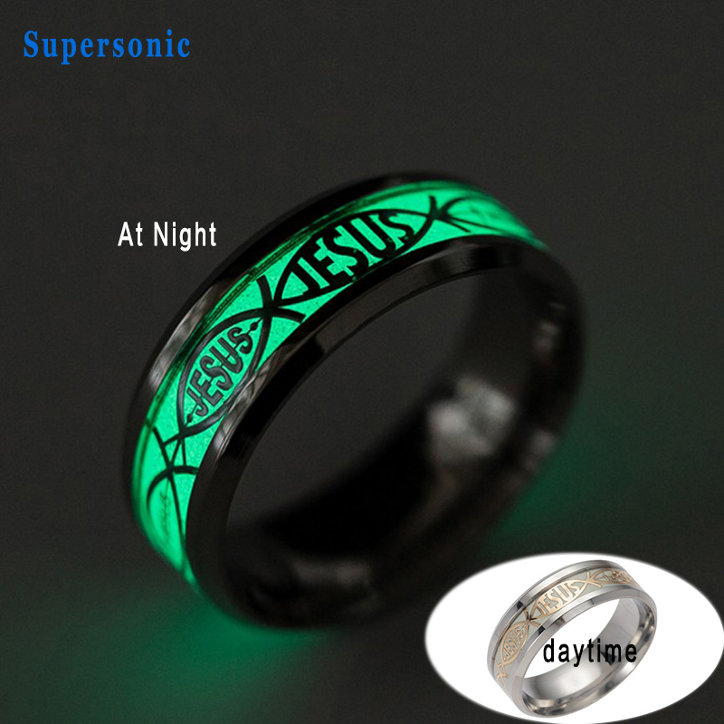New Religious Christian Rings Jesus Letter Bible Wedding Ring Stainless Steel Luminous Best Gift In From Jewelry Accessories On Aliexpress