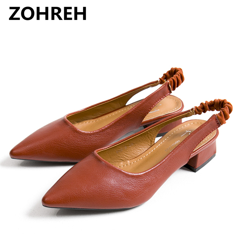ZOHREH 2018 New Summer Fashion Women Pumps Sexy Casual Mid-Heels Lady Pointed Toe Party Shoes Wedding Shose Office Lady