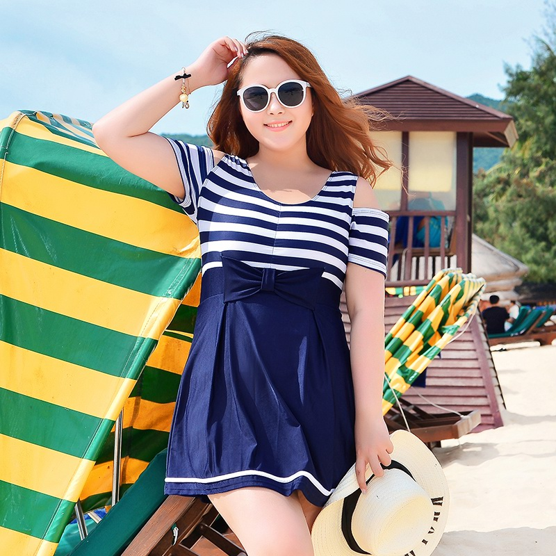 Women's Plus Size Swimming Suit 2016 New Navy Blue Striped Short Sleeve Swimwear Beach Skirt Bathing Suit 3XL-6XL