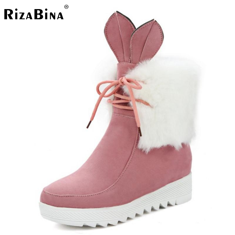 RizaBina Women Cute Lace Up Boot  Snow Botas Mujer High Increasing Shoes Woman Winter Warm Thicked Fur Ankle Boots Size 34-43 botines mujer 2016 autumn spring women boots lace up print motorcycle ankle boot ladies flat shoes woman botas mujer xwx3362