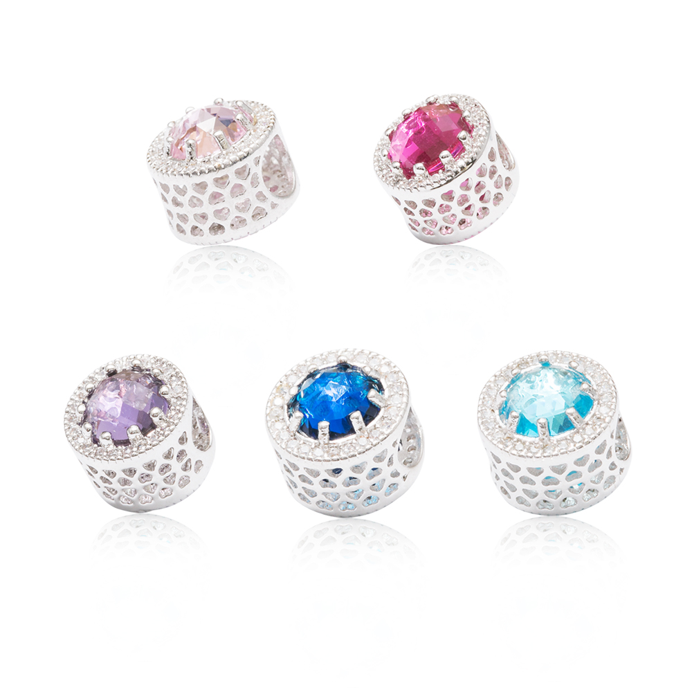 High quality 925 Silver Hollow 5 Colors Crystal Radiant Hearts Charm Fit Original Pandora Charm Bracelet Jewelry Gift js1474