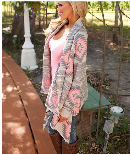 Basic     jackets   coats Cardigan fashion irregular long-sleeved female spring and autumn print speed thin Outerwear Coats