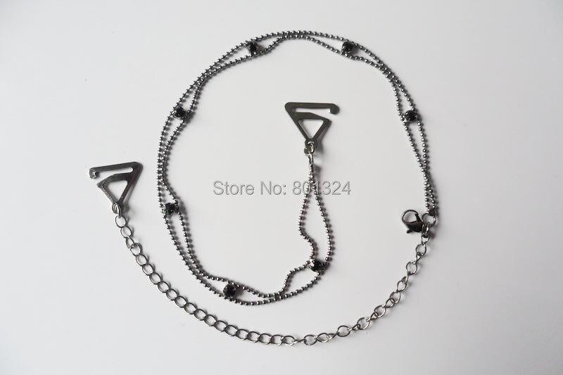 Metal Adjustable Silver Black Bra Shoulder Strap Rhinestone Bra Shoulder Strap Double Beads Clip Bra Underwear Shoulder Straps 4