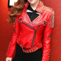 Original Design Women PUNK Style Rivets Red Jacket Handmade 1500 Nails Motorcycle Leather Jakcet Short Design Slim Zipper Jacket