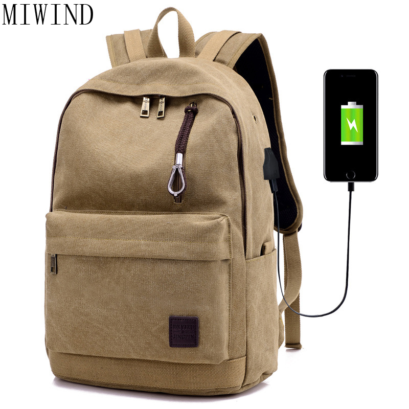 MIWIND 2017 Men Male Canvas Backpack College Student School Backpack Bags for Teenagers Casual Rucksacks Laptop Backpack TWO947 tinyat men canvas college student school backpack male bags casual rucksacks laptop backpacks women mochila t101 black escolar