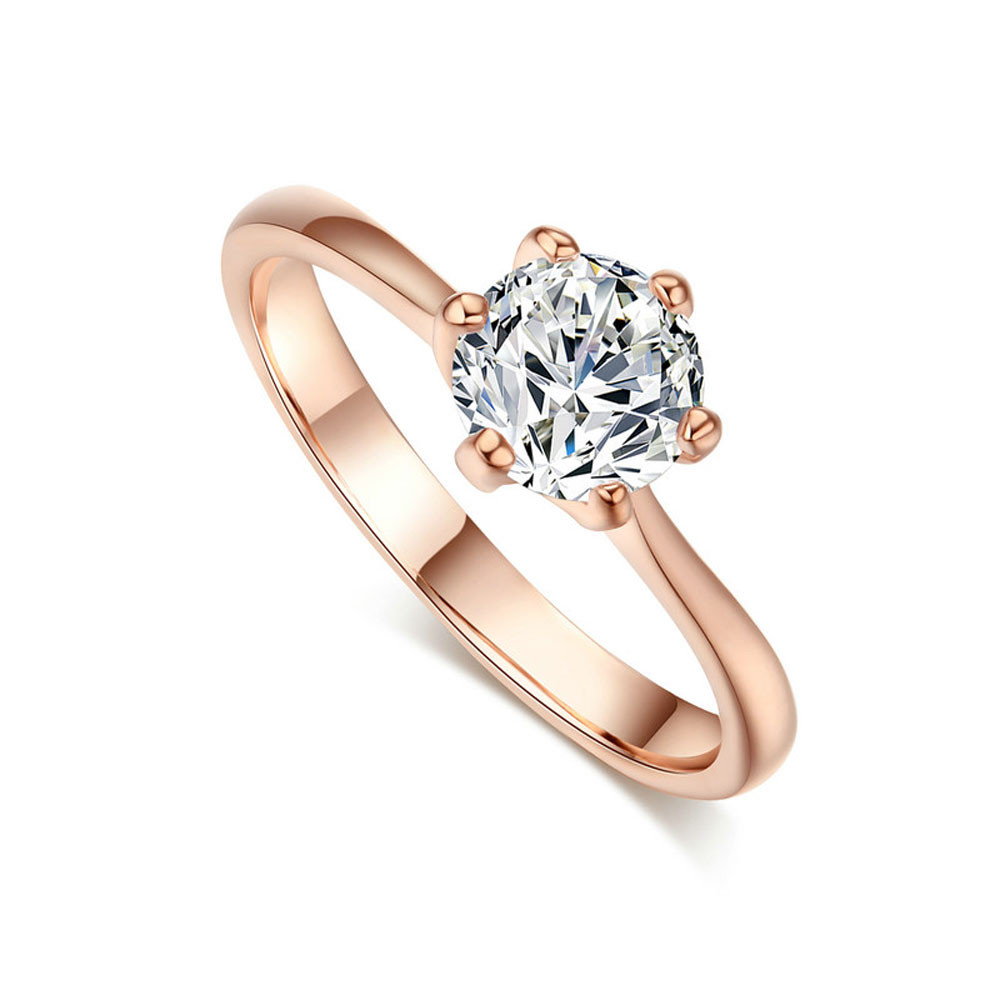 Saatleri Trendy Rose Gold Six Claw Zircon Ring Female Wedding Couple Jewelry New Fashion