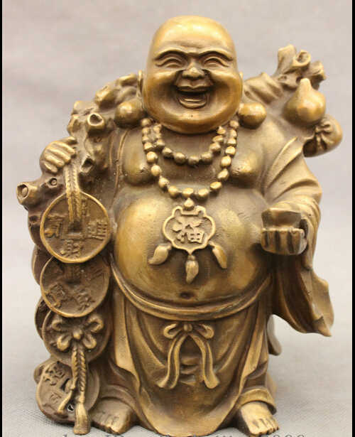 SCY JP S62 Saco Riqueza Fu Cabaça Chinese Bronze Budismo Feliz Laugh Buda Maitreya Estátua