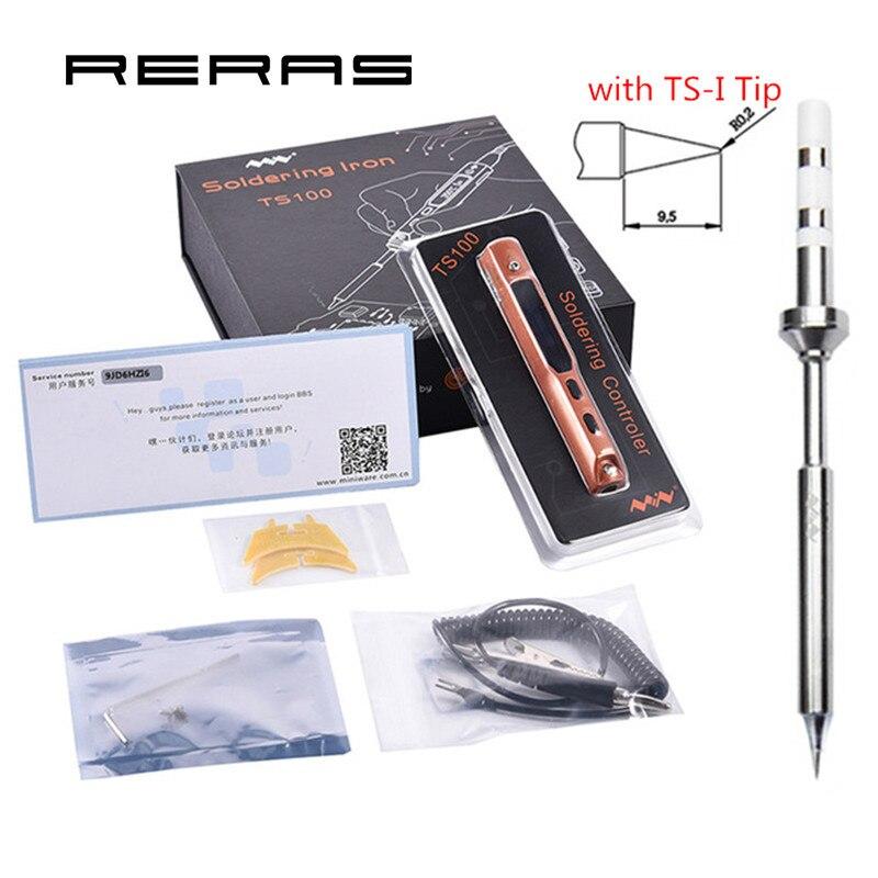 Station de reprise de fer à souder numérique MINI TS100 haute qualité OLED DC5525 Kit d'outils électriques à pointe de TS-I STM32 intégré 65 w 12-24 v