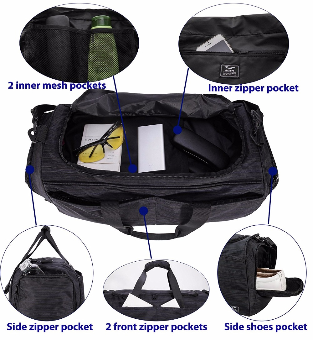 Mier Gmy Bag Duffle For Women And Men With Shoe Compartment 21 Inches Black In Gym Bags From Sports Entertainment On Aliexpress Alibaba Group