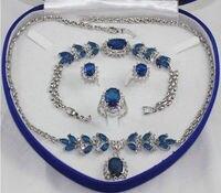 Bridal Fashion Jewellery Women's Set Necklace Earring Ring Bracelet+box
