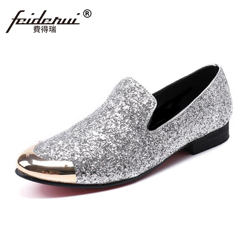 Plus Size Silver Luxury Round Toe Slip on Man Moccasin Loafers Genuine Leather Glitter Comfortable Party Men's Casual Shoes SL89 desai brand italian style full grain leather crocodile design men loafers comfortable slip on moccasin driving shoes size 38 43