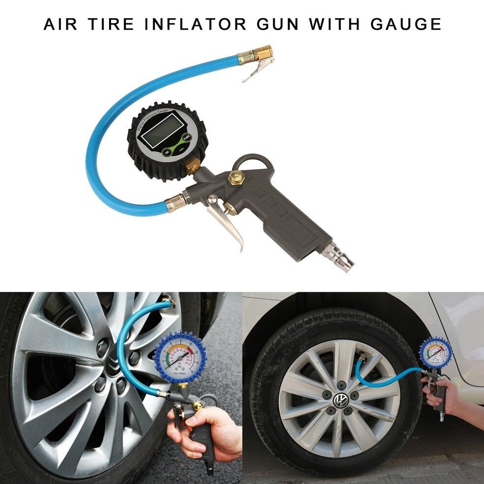 High Precision Air Tire Inflator Gun Digital Tire Pressure Gauge With Hose Connect Plug For Car Motorcycle Repair Tools