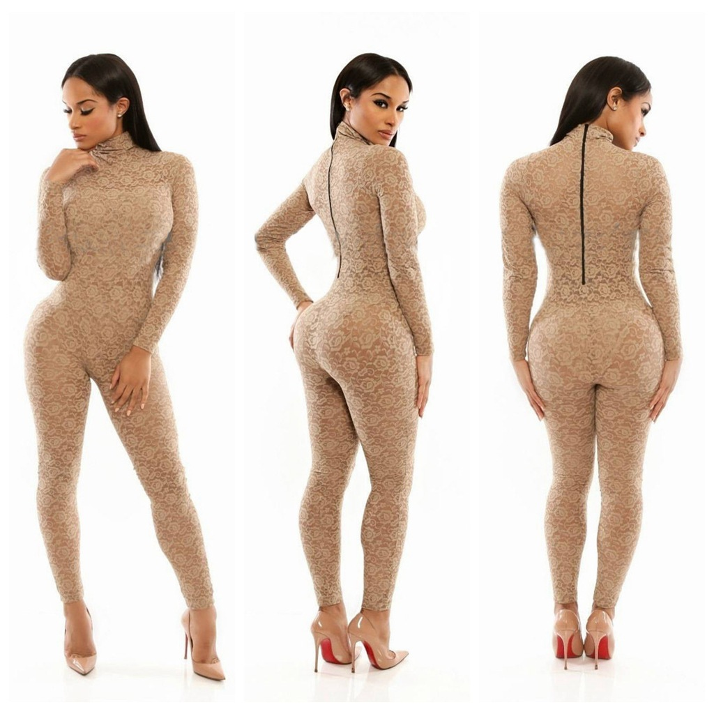 62590e683c3 Lace elegant jumpsuits evening wear bodycon skinny color turtleNeck Lace  high waist Jumpsuits rompers hot YH8127 on Aliexpress.com