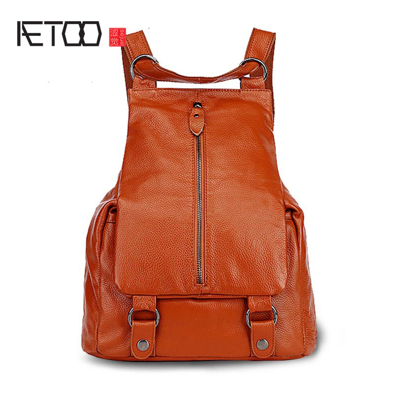 AETOO Leather shoulder bag female Korean version of the tide leisure fashion travel backpack college wind bag new tide 2016 new lady chest pack female leather satchel leisure korean tide printing leather sports backpack bag chest free shipping