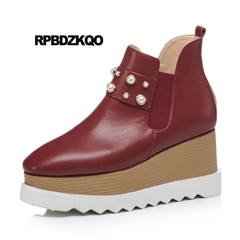 D hiver Chelsea vin Talon Grande Chaussons On Bottes Haut Cuir En Rouge  Bout Wedge Chaussures ... ba8dd6e22e5