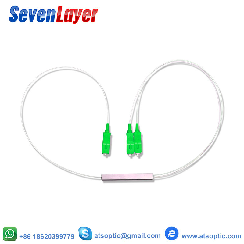 SC/APC Connector Fiber Optic PLC Splitter Wire Harness 10pcs Steel Tube 0.9mm 1x2 Differential Mini Block Less