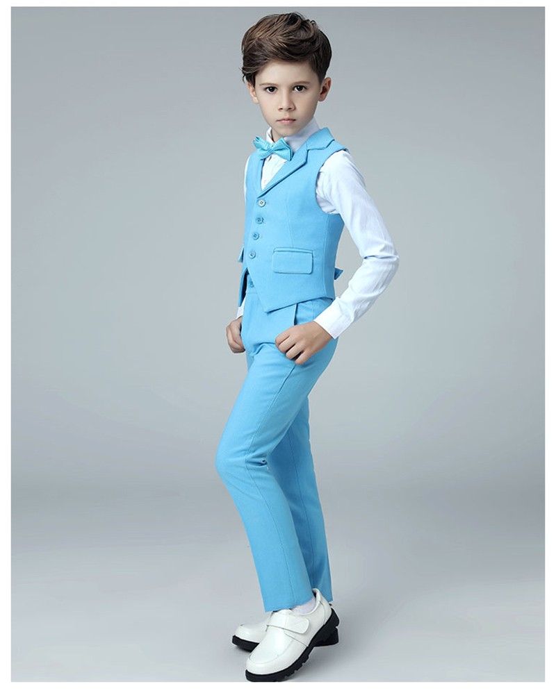 Boys vest suits set vest pant shirt tie kids wedding Party Suits vest costumes little host performance clothing 2019 (3)