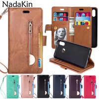 Zipper Wallet 9 Card Pockets Functional Book Case for Huawei P8 P20 Mate 10 Lite Pro 2017 Luxury Flip Leather Purse Phone Shell