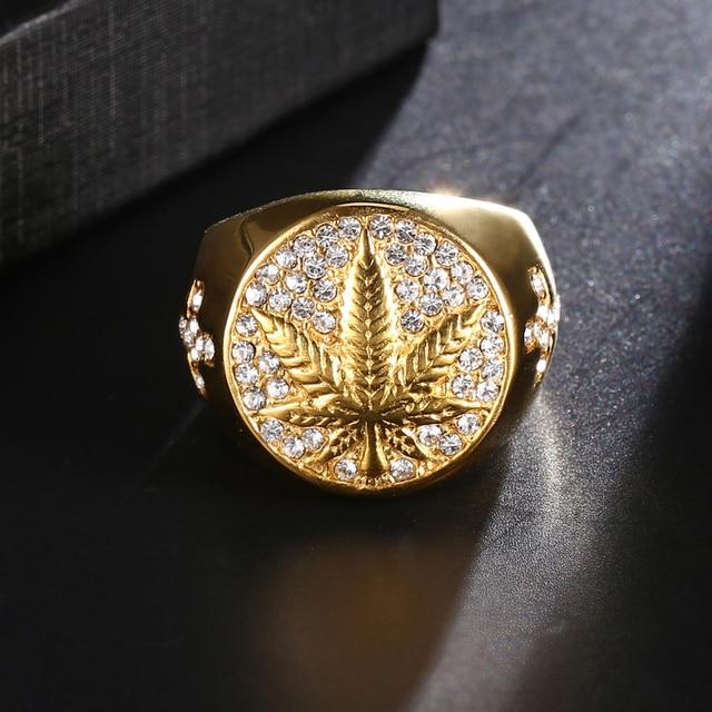Bagues Hip Hop Bling anneaux acier Feuille Cannabis