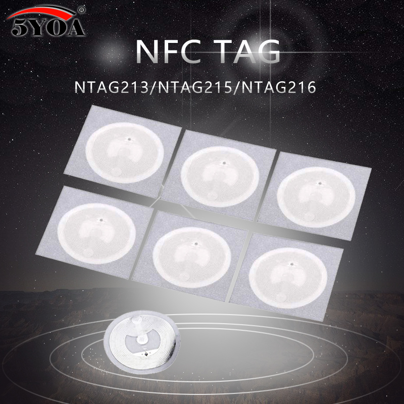 5YOA 100pcs NFC NTAG215 Tags Chip Stickers Tag For TagMo Dia.25mm Lable Forum Type2 Sticker NFC Phone 100pcs ntag215 nfc stickers tag for tagmo dia 25mm lable forum type2 sticker