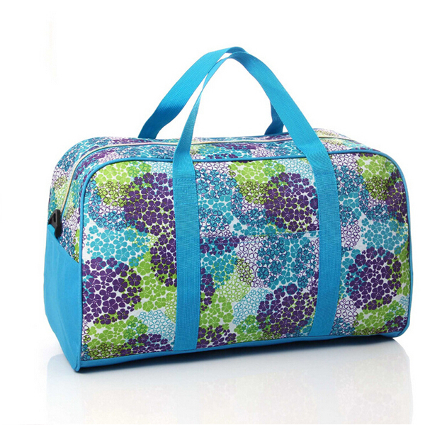 Korean style fresh hiking travel duffel bags sky blue sport bags for trip  women tote handbags flowers shoulder bags for girls 2dec3d8554072