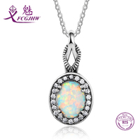Sterling Silver 925 Pendant Necklace For Women Fine Jewelry Vintage Opal Oval Korean cc For Wedding Engagement Party Gifts