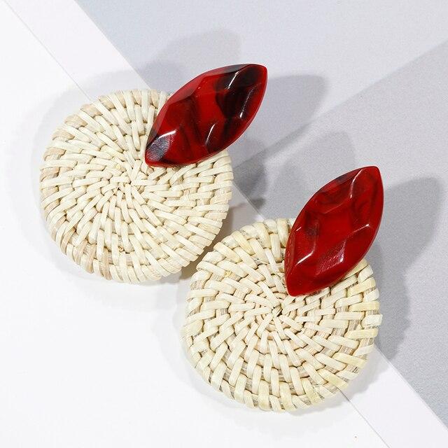 AENSOA Multiple 27 Style Korea Handmade Wooden Straw Weave Rattan Vine Braid Drop Earrings New Fashion Geometric Long Earrings 4