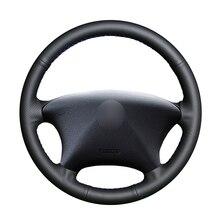 El dikişli siyah PU suni deri araba direksiyon kılıfı Citroen Xsara Picasso 2003 2010 için Peugeot Partner 2003 2008