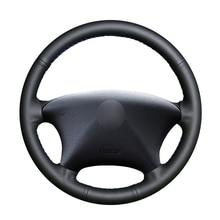 יד תפור שחור PU מלאכותי עור רכב הגה כיסוי לסיטרואן קסארה פיקאסו 2003 2010 פיג ו פרטנר 2003 2008