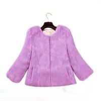 Лоскутное Кролика пальто с мехом нескольких цветов настоящий природный Кролик Меховая куртка Бесплатная доставка Женская мода бренд пальт