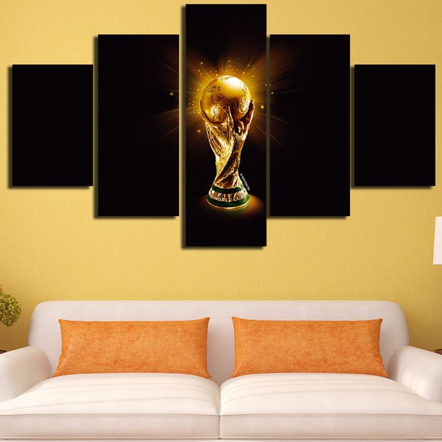 5 Pcs Canvas World Cup Soccer Oil HD Printed Painting Modern ...