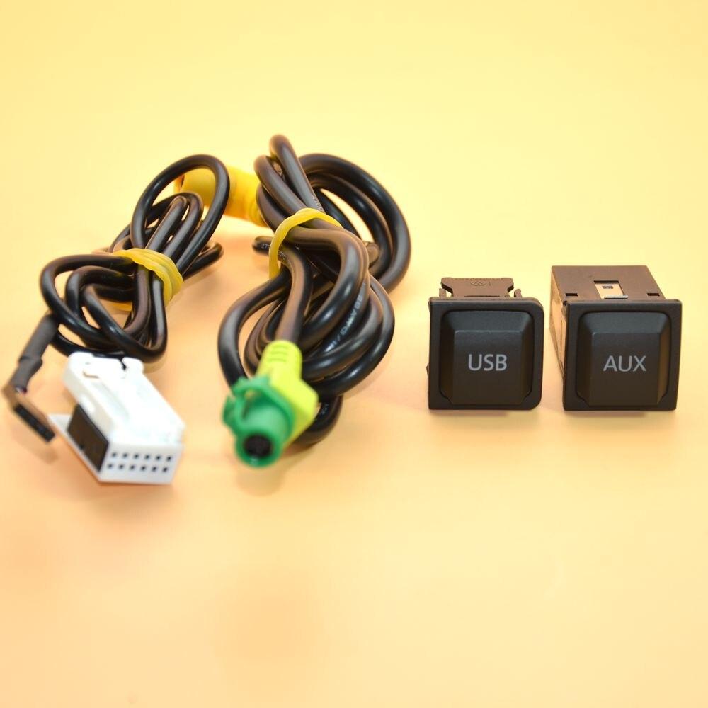 Ausmarta AUX + USB connecteur audio de données et faisceau de câblage pour VW Golf Jetta MK5 RCD 510 RNS31 5KD 035 724 A 5KD 035 726 A